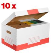 Archivcontainer 10 Stück weiß/rot für 6 Archivboxen mit 8cm Rücken 47 l