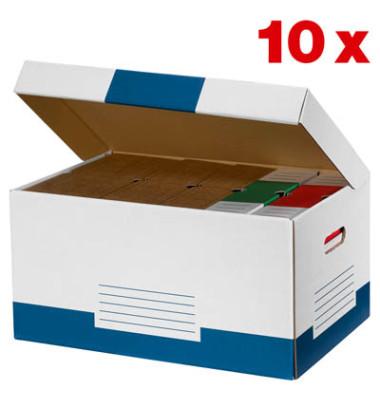 Archivcontainer 10 Stück weiß/blau für 6 Archivboxen mit 8cm Rücken 47 l