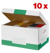 Archivcontainer 10 Stück weiß/grün für 6 Archivboxen mit 8cm Rücken 47 l