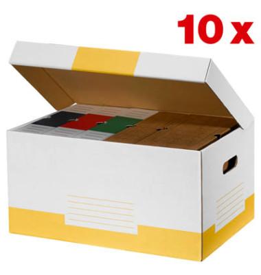 Archivcontainer 10 Stück weiß/gelb für 6 Archivboxen mit 8cm Rücken 47 l