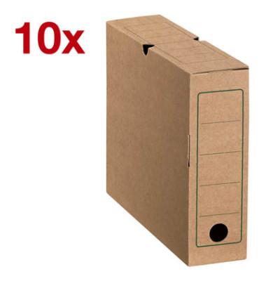 Archivboxen 10 Stück braun 6,0 l