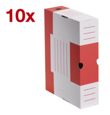 Archivboxen 10 Stück weiß/rot 6,0 l