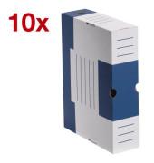 Archivboxen 10 Stück weiß/blau 6,0 l