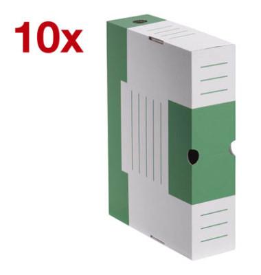 Archivboxen 10 Stück weiß/grün 6,0 l