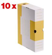 Archivboxen 10 Stück weiß/gelb 6,0 l