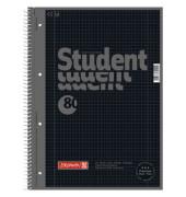 Collegeblock Student Colour Code A4 kariert perforiert gelocht mit Doppelrand schwarz 80 Blatt 5 Stück
