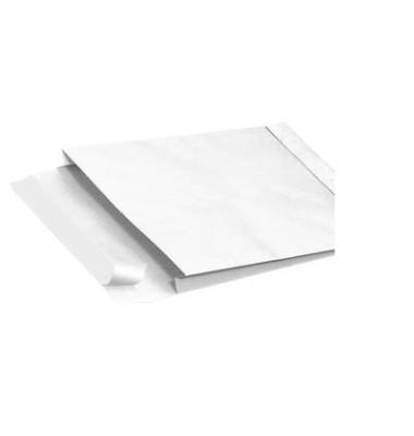 Faltentaschen E4 ohne Fenster 40mm Falte haftklebend 150g weiß 100 Stück