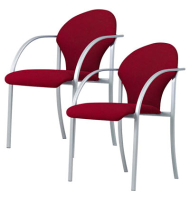 Besucherstühle bordeaux gepolstert mit Stoffbezug 2 Stück