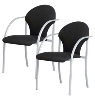 Besucherstühle schwarz gepolstert mit Stoffbezug 2 Stück