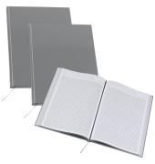 Notizbuch A4 kariert perforiert metallic grau 3 Stück