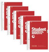Collegeblock Student A4 kariert perforiert gelocht 80 Blatt 5 Stück