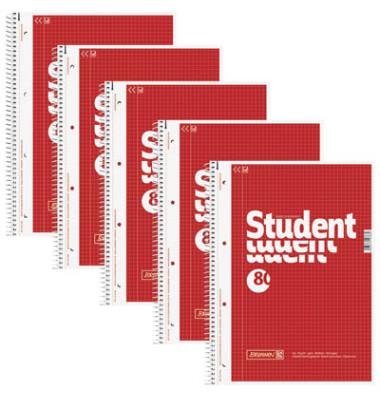 Collegeblock Student A4 kariert perforiert gelocht mit Innenrand 80 Blatt 5 Stück