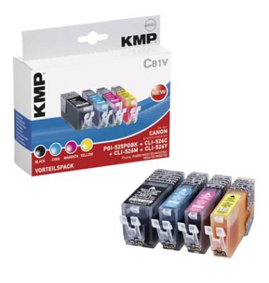 Tinten schwarz, cyan, magenta, gelb ersetzen Canon PGI-525BK, CLI-526C/M/Y