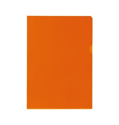Sichthüllen Premium 100461014, A4, orange, klar-transparent, glatt, 0,15mm, oben & rechts offen, PVC-Hartfolie