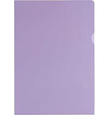 Sichthüllen 100461016, A4, violett, klar-transparent, glatt, 0,15mm, oben & rechts offen, PVC-Hartfolie