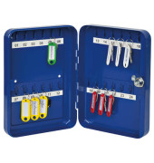Schlüsselschrank mit 24 Schlüsselhaken blau