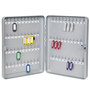 Schlüsselschrank mit 70 Schlüsselhaken silber