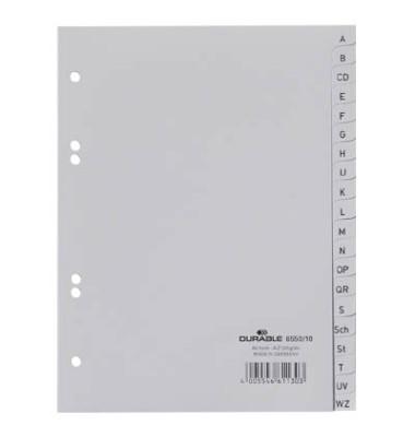Kunststoffregister 6550-10 A-Z A5 0,12mm graue Taben 20-teilig