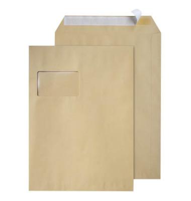 Versandtaschen C4 mit Fenster haftklebend 90g braun 250 Stück