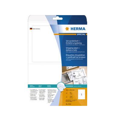 Versand Etikett 8316 182 x 130 mm weiß 25 Stück Einlieferungsbeleg