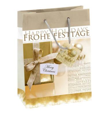 Geschenktaschen Golden Shimmer gold/weiß 17 x 9 x 23cm 5 Stück