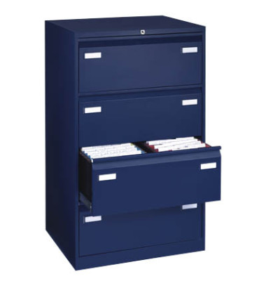 LIGHT Hängeregistraturschrank 80,0 x 62,2 x 132,1 cm 4 Schubfächer blau