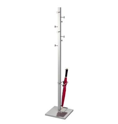 Garderobenständer Slim Line 6223, mit 8 Haken, mit Schirmständer, mit Hutablage, Metall, silber
