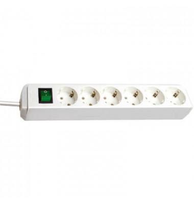 Mehrfach-Steckdosenleiste 6-fach weiß mit Schalter
