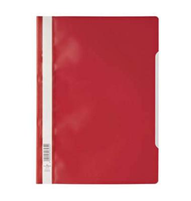 Schnellhefter 9792573 A4 rot PP Kunststoff kaufmännische Heftung bis 150 Blatt 10 Stück