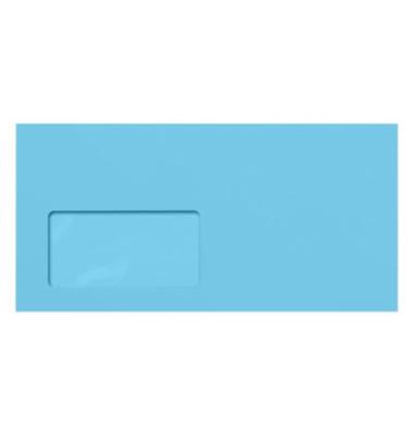 Designbriefumschläge Din Lang+ EcoRainbow mit Fenster haftklebend 80g blau 25 Stück