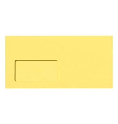 Designbriefumschläge Din Lang+ EcoRainbow mit Fenster haftklebend 80g gelb 25 Stück