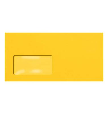 Designbriefumschläge Din Lang+ EcoRainbow mit Fenster haftklebend 80g sonnengelb 25 Stück