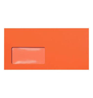 Designbriefumschläge Din Lang+ EcoRainbow mit Fenster haftklebend 80g intensivorange 25 Stück