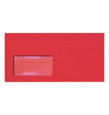 Designbriefumschläge Din Lang+ EcoRainbow mit Fenster haftklebend 80g intensivrot 25 Stück