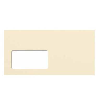 Designbriefumschläge Din Lang+ EcoRainbow mit Fenster haftklebend 80g hellchamois 25 Stück