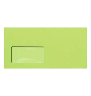 Designbriefumschläge Din Lang+ EcoRainbow mit Fenster haftklebend 80g leuchtgrün 25 Stück