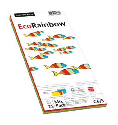 Designbriefumschläge Din Lang+ EcoRainbow ohne Fenster haftklebend 80g farbig sortiert 25 Stück