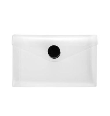 Dokumententasche 40119 Visitenkarten-Format farblos/transparent schwarzer Knopf 10 Stück