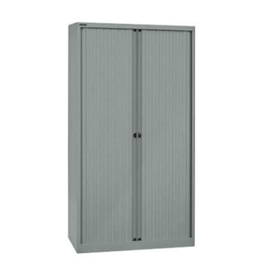 Aktenschrank EuroTambours™ PLUS ET410194SSL855, Kunststoff/Stahl abschließbar, 5 OH, 100 x 198 x 43 cm, silber