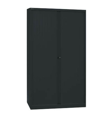 Aktenschrank EuroTambours™ PLUS ET412194S5433, Kunststoff/Stahl abschließbar, 5 OH, 120 x 198 x 43 cm, schwarz