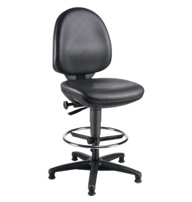 Arbeitsdrehstuhl Tec 50 Counter mit Fußring und Bodengleiter schwarz