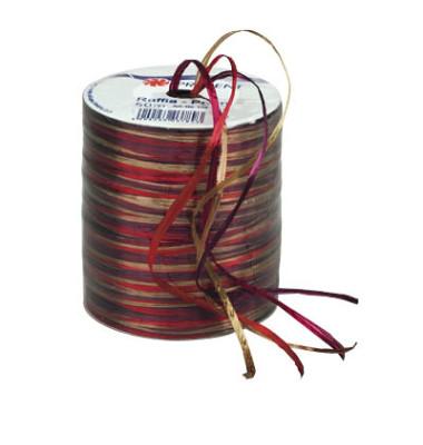 Geschenkband Raffia 3mm x 50m Pearl rot/braun