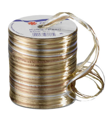 Geschenkband Raffia 138-104 3mm x 50m glänzend creme/braun