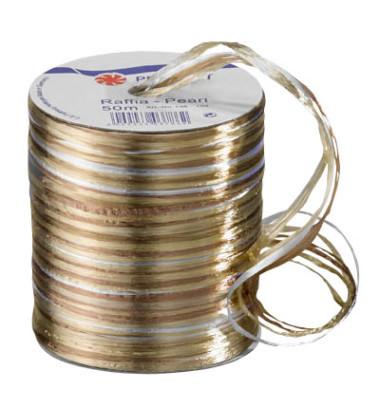 Geschenkband Raffia 3mm x 50m Pearl creme/braun