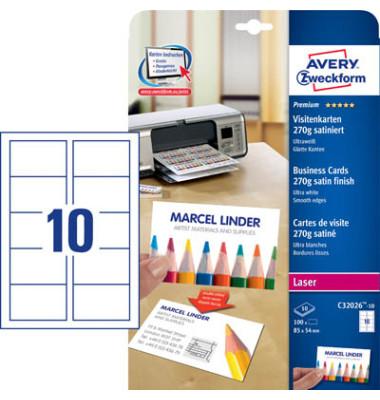 C32026-10 Visitenkarten ultra weiß 85 x 54 mm 270g 100 Stück satiniert