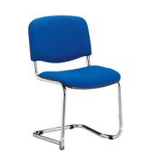 Schwingstuhl blau gepolstert mit Stoffbezug 2 Stück