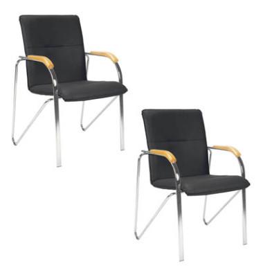 Besucherstühle schwarz Kunstleder 2 Stück