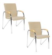 Besucherstühle beige Kunstleder 2 Stück