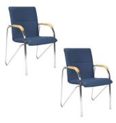 Besucherstühle Samba blau Kunstleder 2 Stück