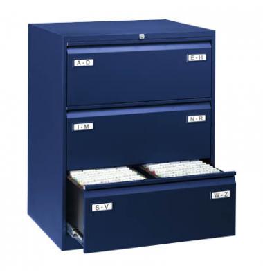 LIGHT Hängeregistraturschrank 80,0 x 62,2 x 101,6 cm 3 Schubfächer blau  CDF3639